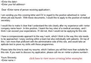 Application Letter To Secretary Medical Secretary Job Application Letter Example