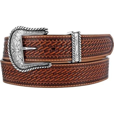 justin western mens belt leather basket weave rodeo