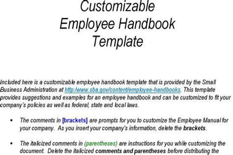 employee handbook template for small business hr template free premium templates forms