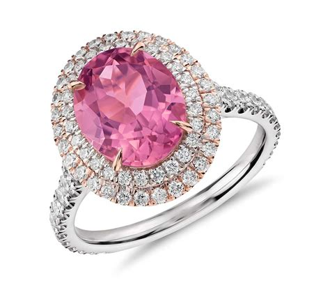 pink tourmaline and halo pav 233 ring in 18k