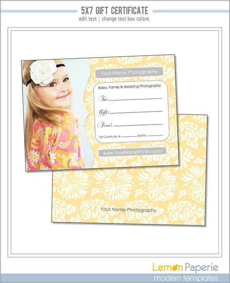 photography gift certificate templates 5x7 and 4x6 gift certificate template fresh blossoms