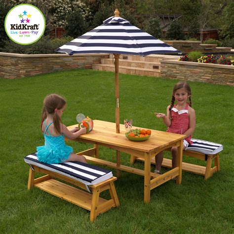 garden bench set kidkraft outdoor table and bench set with cushions and umbrella 00106