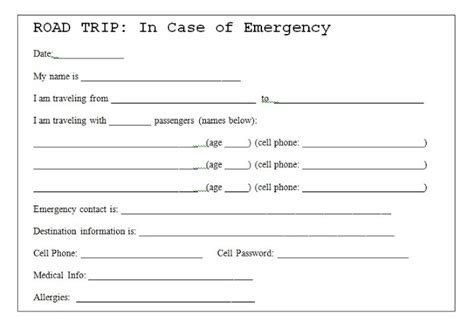 printable emergency card template 504 by lefevre road trip safety tip emergency