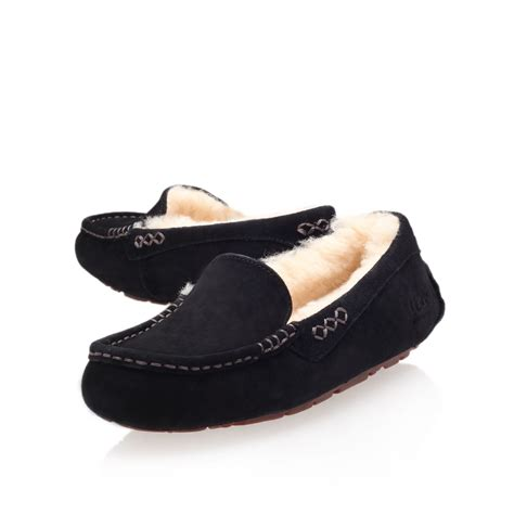 moccasin loafer ugg ansley moccasin loafer slippers in black lyst