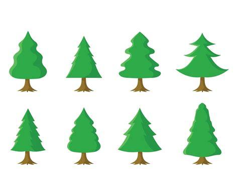 free cartoon christmas tree set vector art graphics