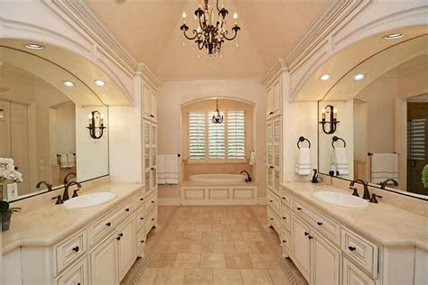 traditional master bathrooms traditional master bathroom with chandelier by hadi