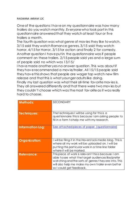 horror film questionnaire media questionnaire film consumption 4018