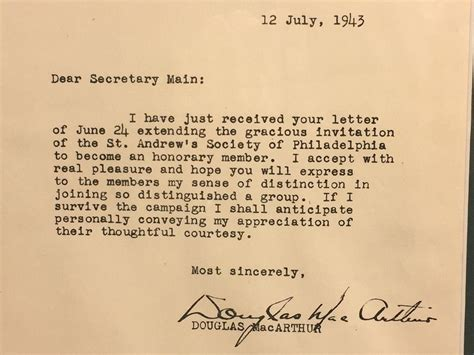Acceptance Letter From St S Douglas Macarthur July 12 1943 Acceptance Letter Honorary Member St From Timelesstokensde On