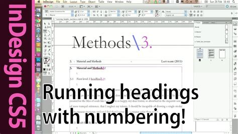 indesign running header indesign header running headline with numbering cs5