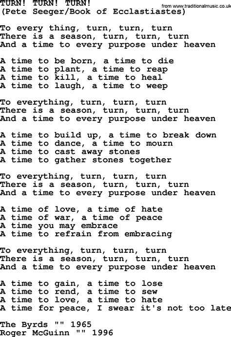 turn turn turn by the byrds lyrics with pdf
