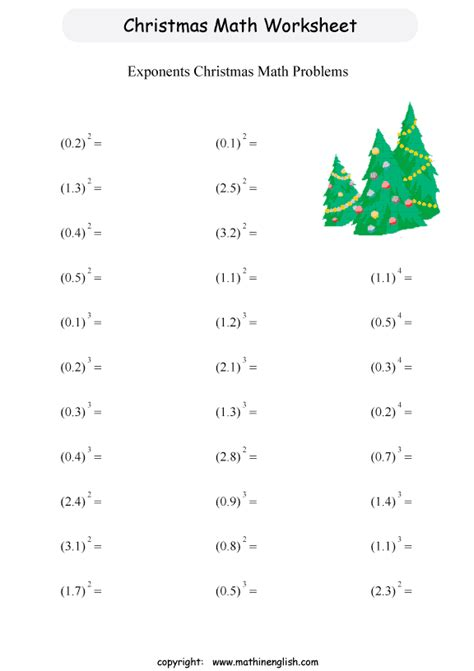 printable math worksheets on exponents free printable christmas math worksheets for 6th grade