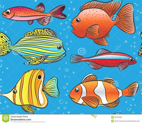pictures of color seamless blue pattern with color fishes royalty free stock
