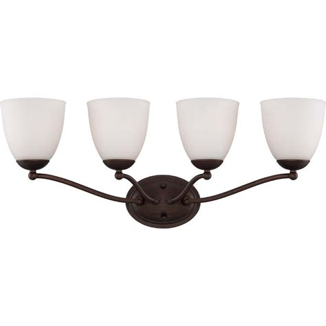 Light Fixture Glass Shades Illumine 4 Light Prairie Bronze Vanity Fixture With Frosted Glass Shade Hd 5134 The Home Depot