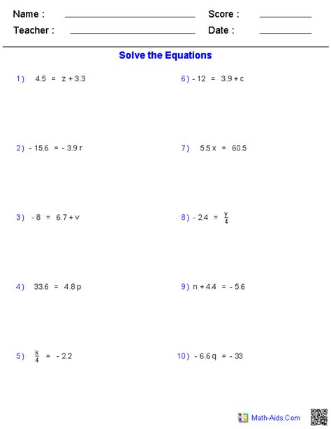 Math Equations Worksheets by Algebra 1 Worksheets Equations Worksheets