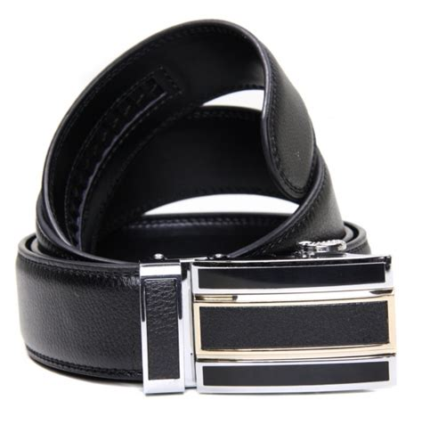 mens black leather ratchet belt style with large buckle