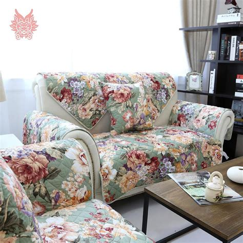 Floral Slipcovers Floral Print Quilting Sofa Cover 100 Cotton Sided