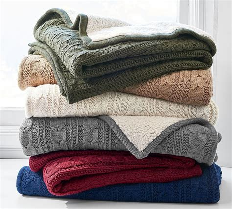 cozy cable knit throw pottery barn ca