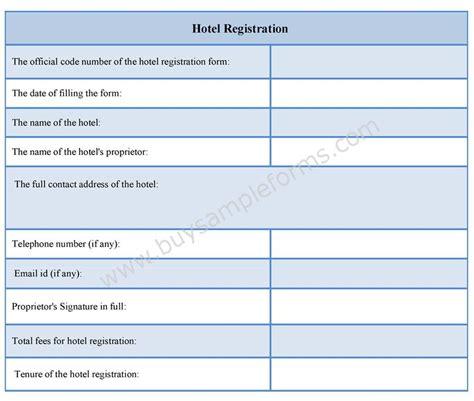 hotel registration form hotel registration form sle
