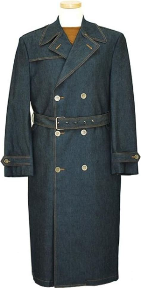 mens navy blue denim winter peacoat double breasted long