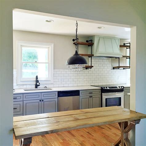 Single Kitchen Cabinet by Quot How To Quot Shiplap Wall Amp Open Pipe Shelving Addison S