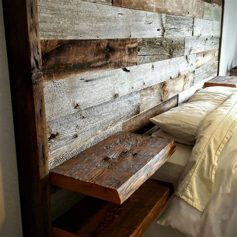 barn board headboard reclaimed barn board oversized headboard with built in