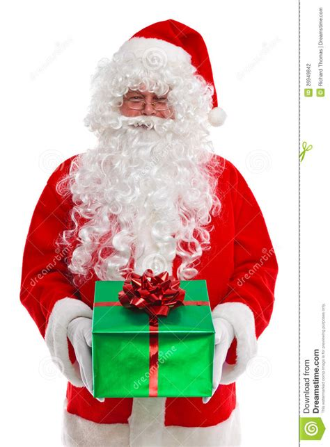 santa claus giving you a gift stock photo image 26949842