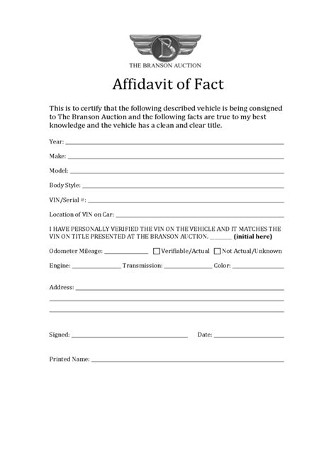affidavit of fact 11 free templates in pdf word excel
