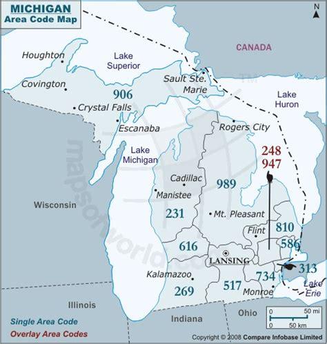 us area code michigan michigan map and michigan satellite image