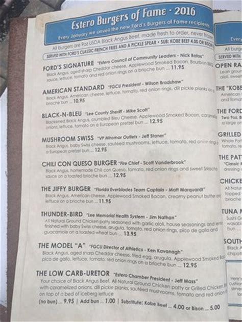 menu picture of ford s garage estero tripadvisor