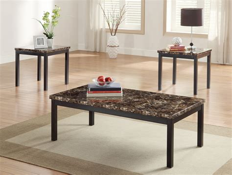 faux marble top homelegance tempe 3 piece coffee table set w faux marble
