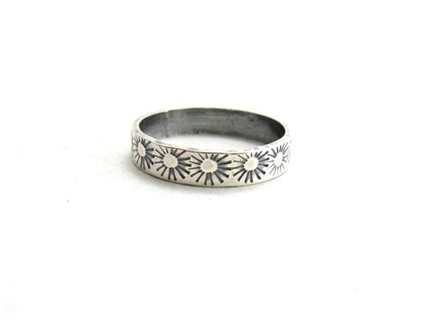 sterling silver sunburst ring simple ring band with by