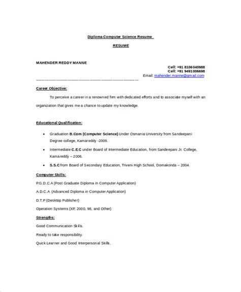 Computer Science Resume Template by Computer Science Resume Exle 9 Free Word Pdf
