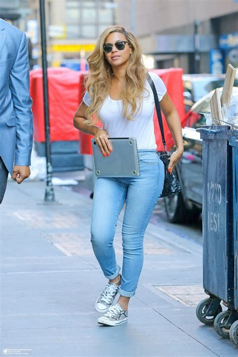 beyonce displays curvy figure as she steps out in nyc