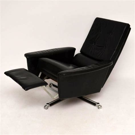retro leather recliner retro leather swivel reclining armchair vintage 1960s at