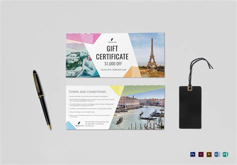 vacation gift card template travel gift certificate design template in psd word
