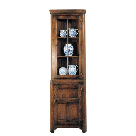 Oak Corner Cabinet With Glass Doors