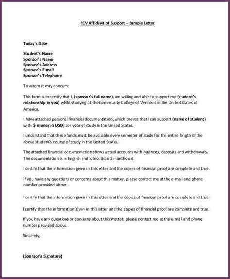 Host Commitment Letter Affidavit Of Support Sle Cvsleform
