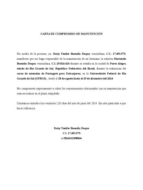 carta de compromiso beca manutencion carta de compromiso de manutenci 243 n