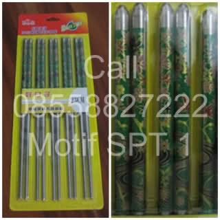 Sumpit Stainless Gagang Merah sendok 08128179987 sumpit motif 5 isi 5 pasang
