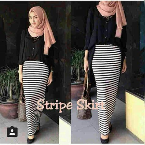 Rok Stripe Skirt Spandek Adem Jual Stripe Skirt Rok Span Panjang Hitam Putih Spandek