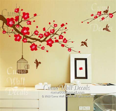 Wallsticker Flower cherry blossom wall decal birds wall decals flower vinyl wall decals birdcage wall mural nursery