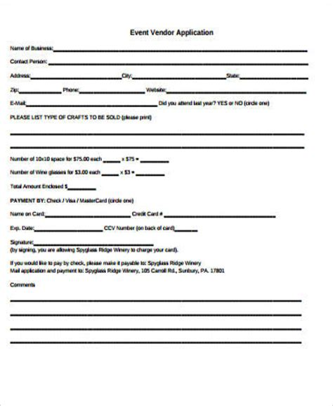 event vendor application template sle vendor application form 9 exles in word pdf
