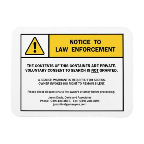 Warrant Search California Quot No Search Without A Warrant Quot Magnet Sign For Ca Zazzle