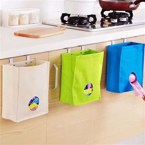 door trash bag holder kitchen storage bag drawer cabinet door back garbage bag