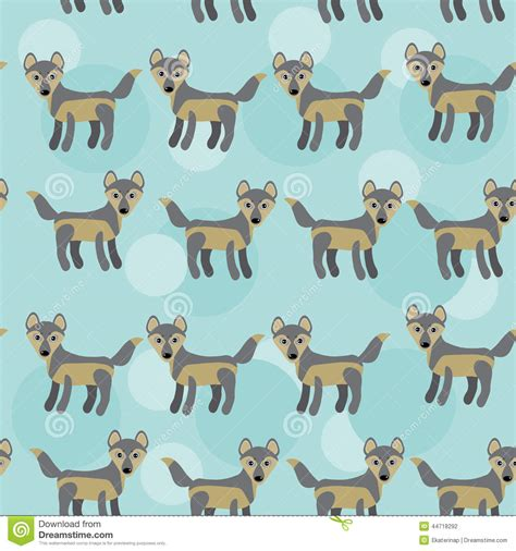 wolf pattern stock gray wolf seamless pattern with funny cute animal on a