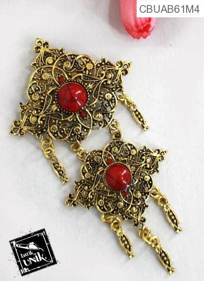 Kbe262i Kalung Batu Model Rumbai bross kebaya renteng dua rumbai gunungan bross etnik