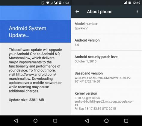 android updates android one devices are now getting android 6 0 marshmallow updates gsmarena news