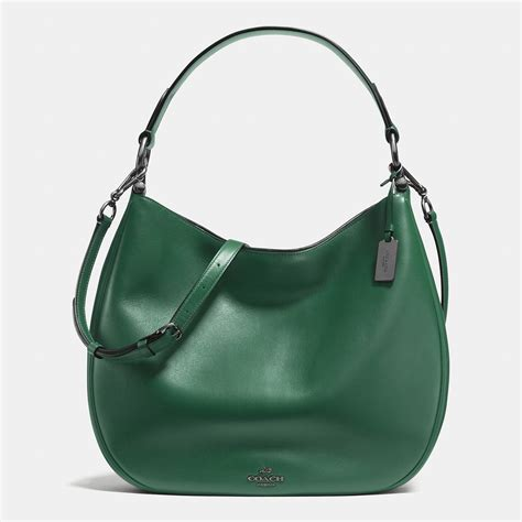 coach nomad hobo in glovetanned leather in green lyst