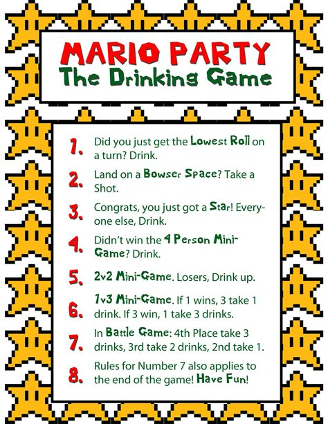 birthday themed drinking games mario party drinking game mandy bryant bachler allison j