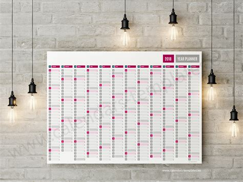 2018 Large Horizontal Yearly Wall Planner Calendar Yearly Wall Calendar Template